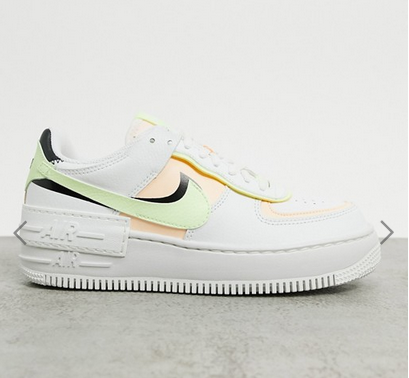 nike air force shadow in white pink and green